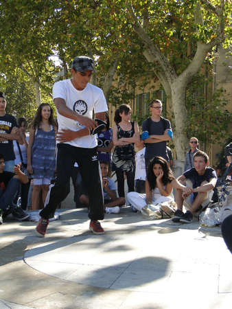 AVIGNON, FRANCE - OCT 1, 2011 - Hip-Hop breakdancers compete in pairs, Palace of the Popes,  on Oct 1, 2011 in Avignon, France Stock fotó - 67727754