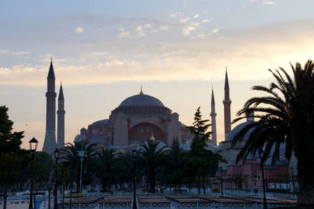 minarets: Early morning light on Hagia Sophia ( Ayasofya ) dome and minarets , 6th century Byzantine cathedral then mosque in Istanbul, Turkey