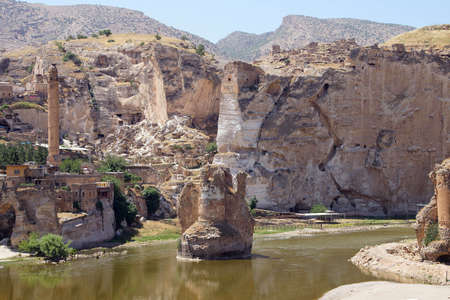 Remains of ancient bridge and buidlings near Hasankeyf, Turkey