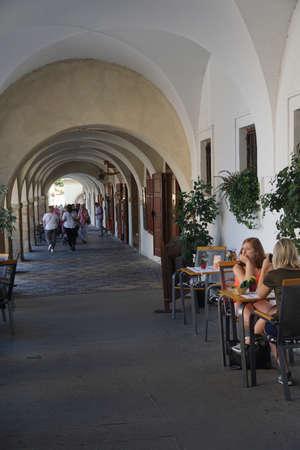 PRAGUE - SEP 1 , 2016 - Lunchtime in an arcade near Hradcany Prague Castle,  Prague, Czech Republic