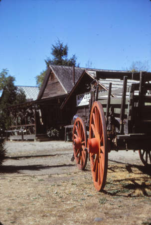 Vintage wagon with large wheels in Jacksonville Oregon