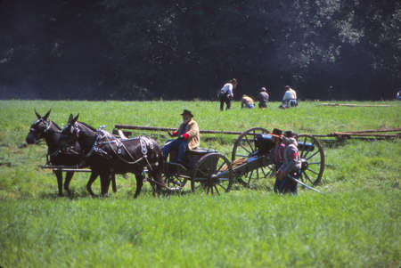 SEATTLE - JUL 10, 1996 - Confederate artillery moves into position,Civil War battle reenactment Editorial