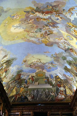 PRAGUE - SEP 1 , 2016 - Fresco painting on ceiling of Medieval library of Strahov Monastery,  Prague, Czech Republic