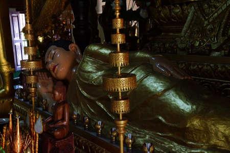PHNOM PENH, CAMBODIA - FEB 8, 2015 -  Buddha statue at altar of  Langka Pagoda  temple,  Phnom Penh,   Cambodia