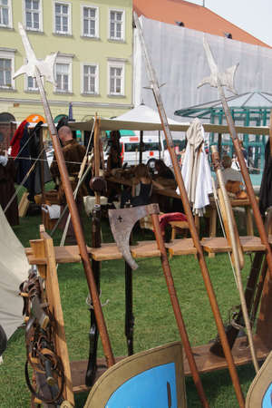 Medieval Hungarian weapons on display at a re-enactment at  Buda Castle,  Budapest, Hungary Stock Photo
