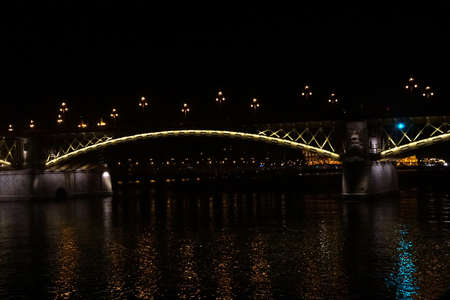 Night lights of bridge on the Danube River,  Budapest, Hungary