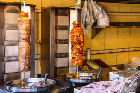 Spit with sliced chicken, ready for shwarma doner kebabs  in Istanbul, Turkey