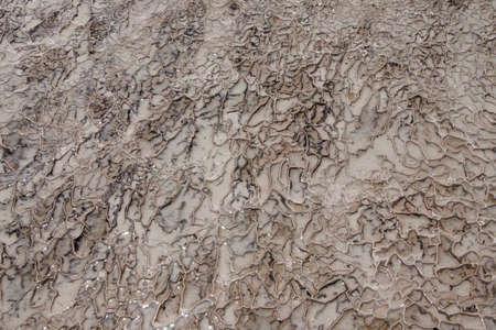 Pamukkale, 터키에서 석회화 테라스에 칼슘 예금의 추상 세부 사항