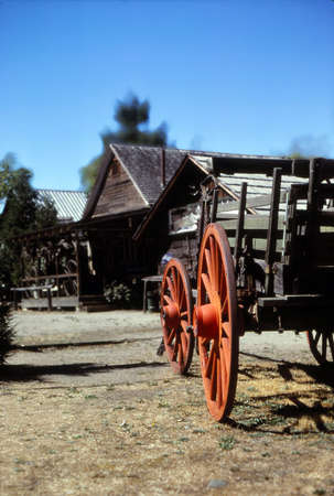 Vintage wagon with large wheels in JacksonvilleOregon Stock Photo