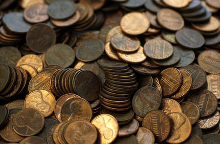 Hoard of pennies close up Stock Photo