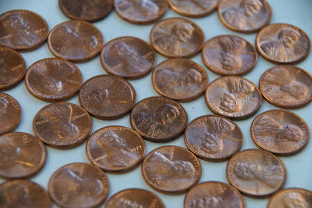 cent: Hoard of pennies close up Stock Photo