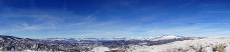 Panorama, Winter snow on mountains near Cordillera,  Colorado Stock Photo