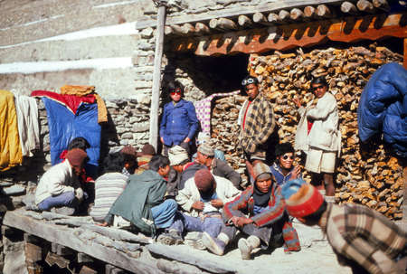 ANNAPURNA HIMAL, NEPAL - DEC 28, 1977 - Nepalese porters on a trek in the Annapurna Himal in Nepal Editorial