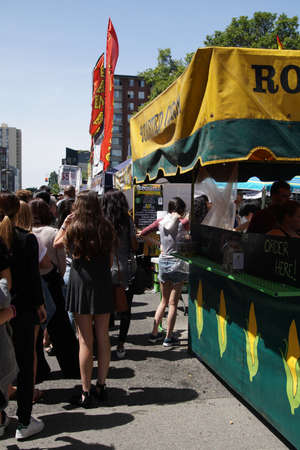 SEATTLE - MAY 21, 2017 - People line up for food at  the University District Street Fair (oldest in the country),Seattle Publikacyjne