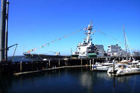 SEATTLE - AUG 4, 2016 - USS Gridley  (DDG 101) guided missle destroyer, docked in Seattle for Fleet Week