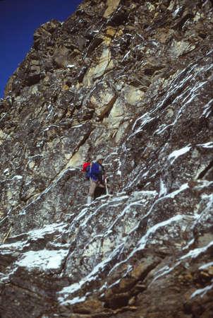 ISLAND PEAK, NEPAL - OCT 15, 1979 - Sherpa climber ascending Island Peak in the Khumbu Himalaya,Nepal, Asia