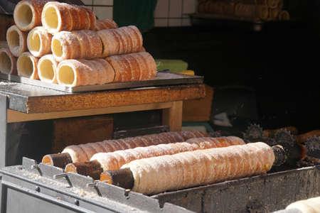 Flaky cinnamin pastries for ice cream,  Prague, Czech Republic