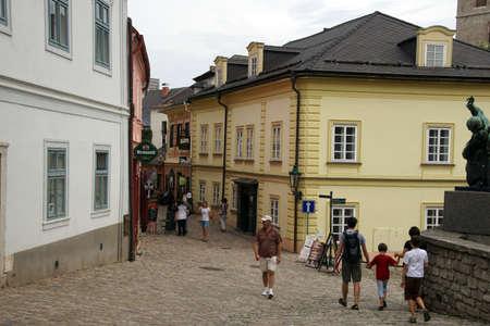 KUTNA HORA, CZECH REPUBLIC - SEP 3, 2016  - Baroque building fronts on narrow street of  Kutna Hora, Czech Republic Sajtókép
