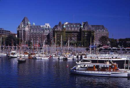 VICTORIA, BRITISH COLUMBIA - OCT 13, 1980 - Empress Hotel in Victoria harbor,Victoria,British Columbia, Canada