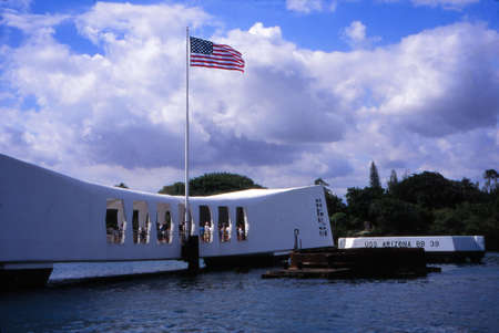 PEARL HARBOR, HAWAII - JAN 15, 2001 - USS Arizona Memorial at Pearl Harbor, Hawaii