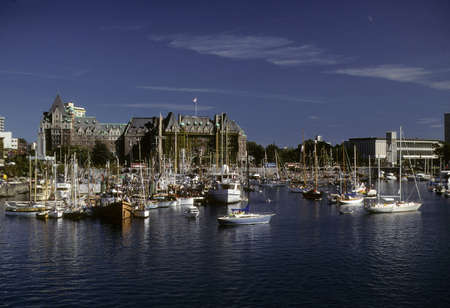 VICTORIA, BRITISH COLUMBIA - OCT 13, 1980 - Empress Hotel in Victoria harbor,Victoria,British Columbia