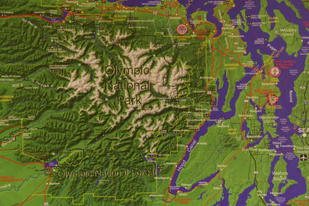 Relief map of   National Park, Washington Stock Photo - 84465973