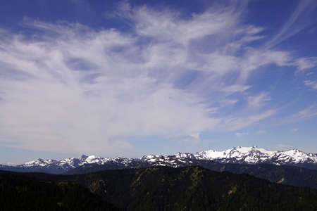 Mount Olympus and nearby peaks on a clear summer day in Olympic National Park, Washington Editorial