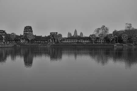 Moat and outer walls at sunset,  Angkor Wat,  Cambodia