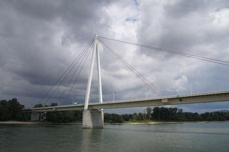 Modern bridge over the Danube River in  Slovakia Editorial