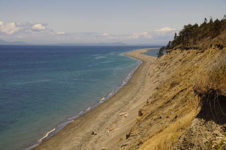 Beach leading to Dungeness spit on Strait of Juan de Fuca, Sequim, Washington
