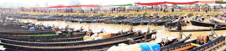 Empty boats await tourists  at a weekly market on Inle Lake,  Myanmar (Burma)