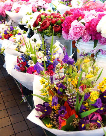 Flower bouquets for sale  at the Pike Place Public Market , Seattle