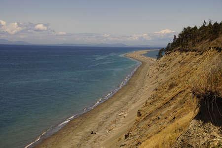 Beach leading to Dungeness spit on Strait of Juan de Fuca, Sequim, Washington