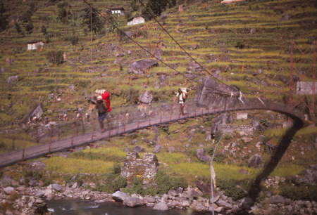 NEPAL HIMALAYAS - OCT 5, 1979 - Hiker on narrow suspension bridge acrosss river near  Those, Nepal, Asia