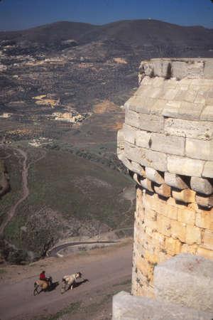 Krak des Chevaliers, beroemdste kasteel van de Kruisvaarders, Syrië Stockfoto