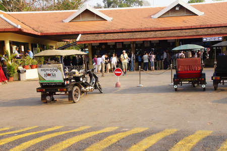 ANGKOR WAT, CAMBODIA - FEB 13, 2015 - Lines of visitors at the ticket office for  Angkor Wat,  Cambodia Publikacyjne