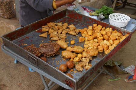Fried snacks at the weekly market in Kyaukme Myanmar (Burma)