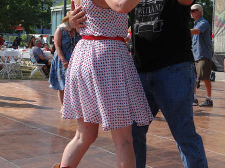 creole: Couples dancing to zydeco blues music  at the  4th of July weekend Blues festival in  Portland,  Oregon Editorial