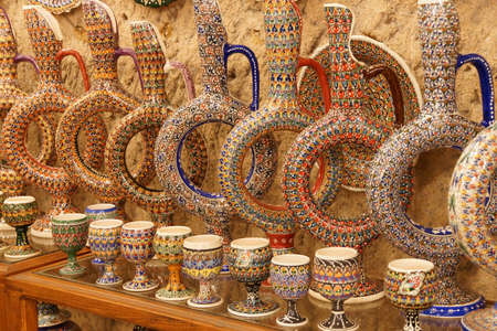 Brightly colored porcelain pitcher and plates  from pottery factory in Avanos, Cappadocia,  Turkey Stok Fotoğraf