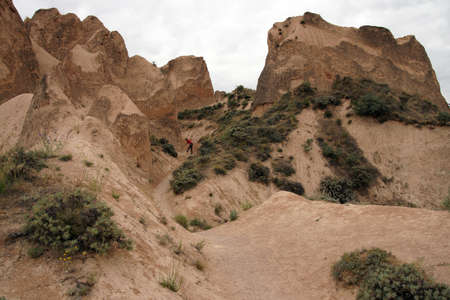 Colored tufa formations in Kizilcukur valley   of Cappadocia, Turkey