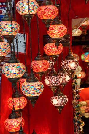 Exquisite glass lamps and lanterns in the Grand Bazaar (Kapali carsi ) in Istanbul, Turkey