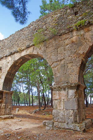 Remains of the Roman aqueduct that served the ancient city of  Phaselis,  Turkey