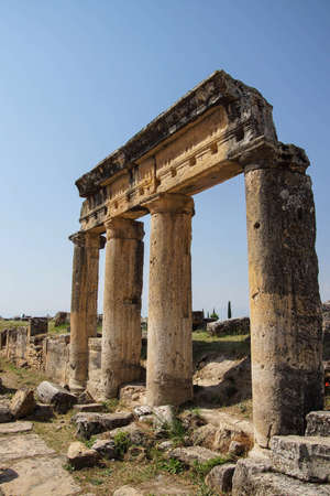 colonnaded: Arch of Domitian, at start of colonnaded street in Hierapolis, Turkey