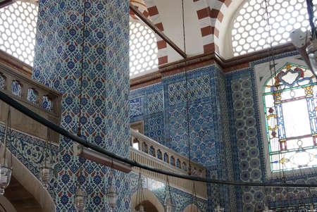 Iznik tile mosaics decorating the    Rustem Pasha Mosque, in Istanbul, Turkey