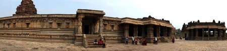 HAMPI, INDIA - SEP 27, 2017 - Indian tourists and interior of Vittala Vishnu Temple at  Vijayanagar, Karnataka, India   Editorial