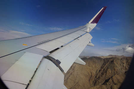 Aerial view of descent through lower Himalayan foothills Leh, Ladakh, India Stok Fotoğraf