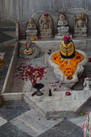 Shiva lingam outside Govind Devji Temple,  Jaipur, Rajasthan, India