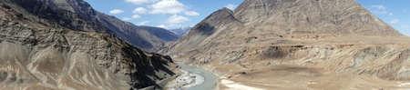 Zanskar River panorama near Indus riverLadakh, India Stock Photo