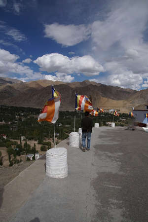 Prayer flags on wall of Shanti Stupa,Leh, Ladakh, India Stock Photo