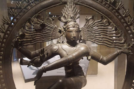 NEW DELHI, INDIA - SEP 10, 2017 - nataraja, Shiva lord of the dance, bronze sculpture National Museum, New Delhi, India